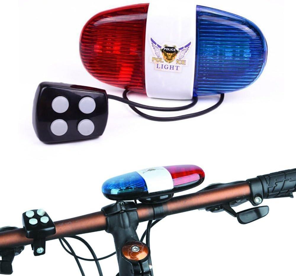 Oumers Vélo police Lumière Sonore Vélo électrique DEL corne sirène Bell 5 4 Sons