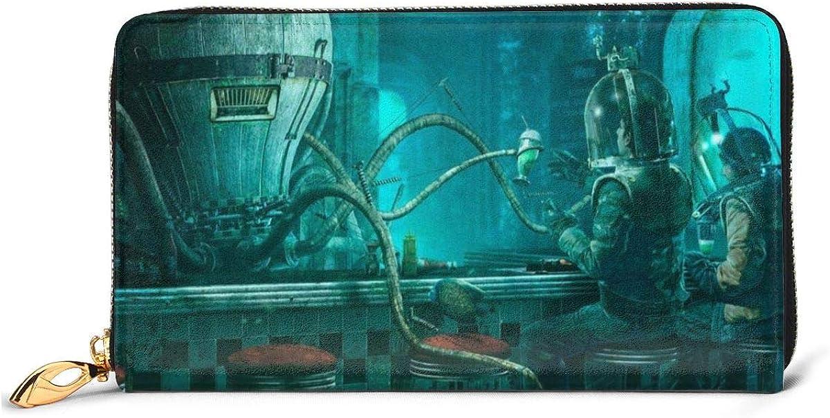 Steampunk Octopus Wallets For Men Women Long Leather Checkbook Card Holder Purse Zipper Buckle Elegant Clutch Ladies Coin Purse
