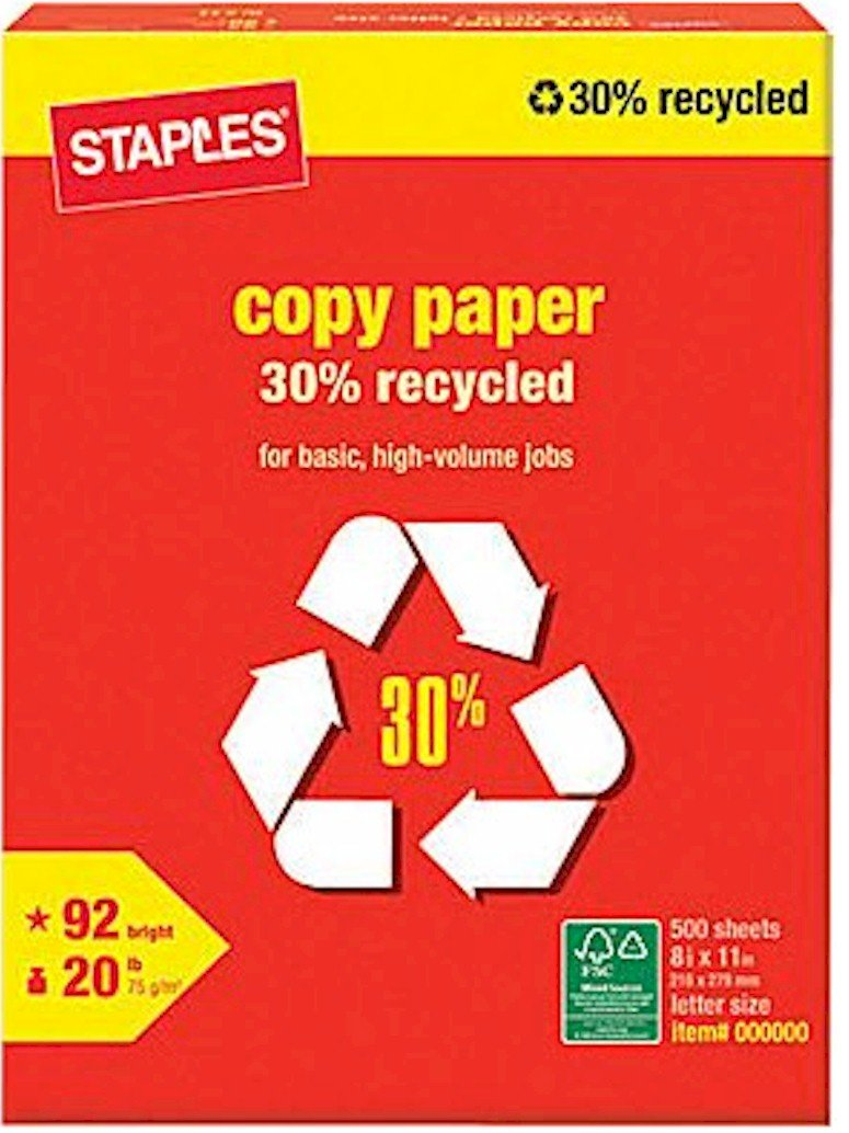 Staples 30% Recycled Copy Fax Laser Inkjet Printer Paper, 92 Bright White, Acid Free, Ream, 8.5'' W x 11'' L, 20 lb, 500 Total Sheets