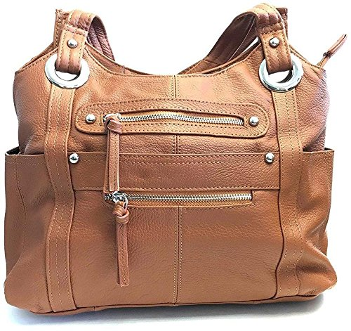 Roma Leathers Leather Locking Concealment Purse - CCW Concealed Carry Gun Shoulder Bag, Light Brown (7008-LBRN) (Best Carry Gun For Women)