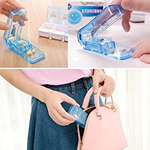 Pill Splitter. The Best Pill Cutter Ever! Design in The USA. Doubles as a Pill Box. (Color: Skyblue)