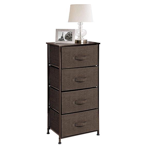 mDesign Cómoda de tela – Práctico organizador de armarios con 4 cajones – Sistema de almacenamiento estrecho para el dormitorio y salas pequeñas – ...