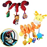 2 Pack Spiral Activity Toy, Activity Spiral Plush Toys Stroller, Travel Activity Toy (Giraffe & Bee Shape)
