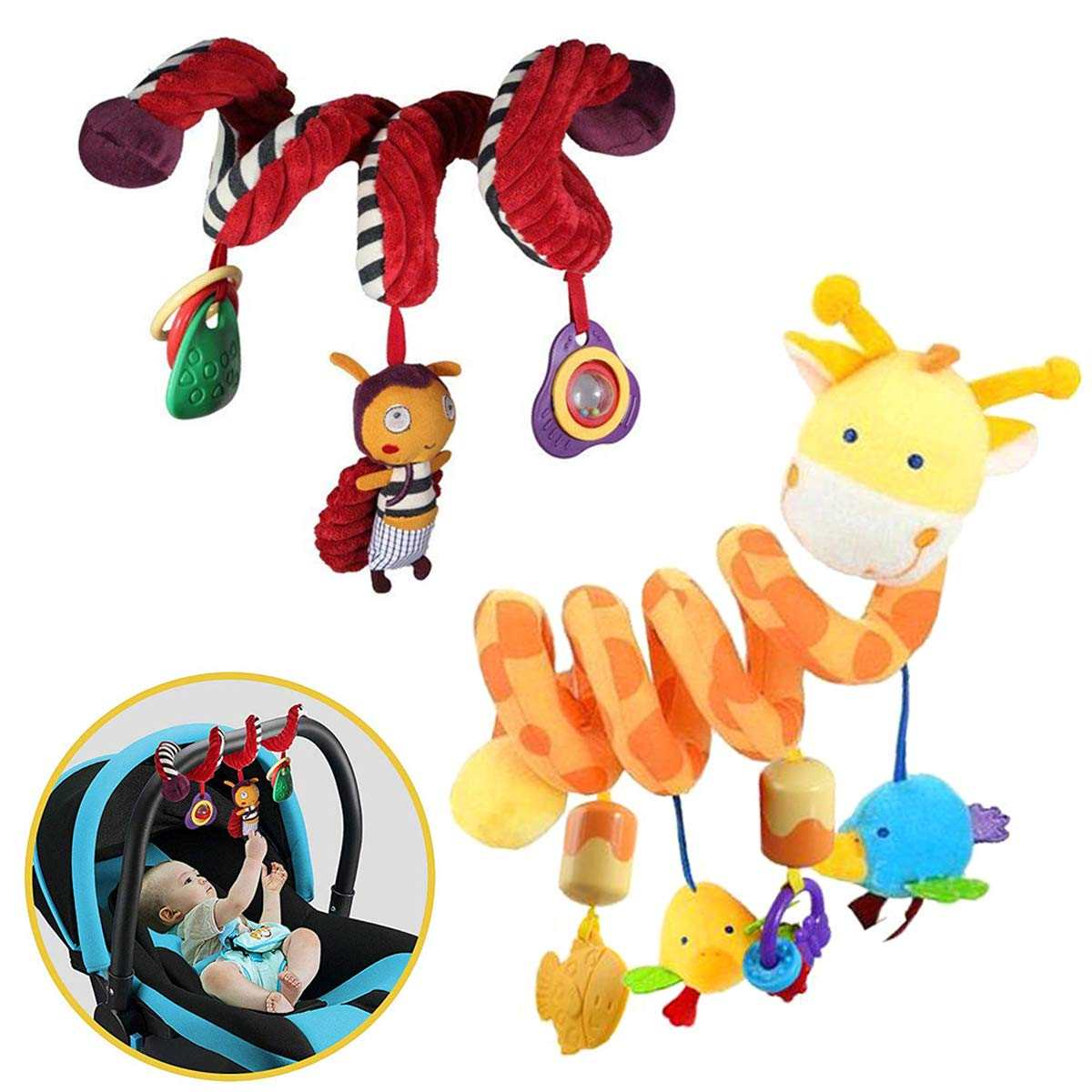 2 Pack Spiral Activity Toy, Activity Spiral Plush Toys Stroller, Travel Activity Toy (Giraffe & Bee Shape) by Fstop Labs