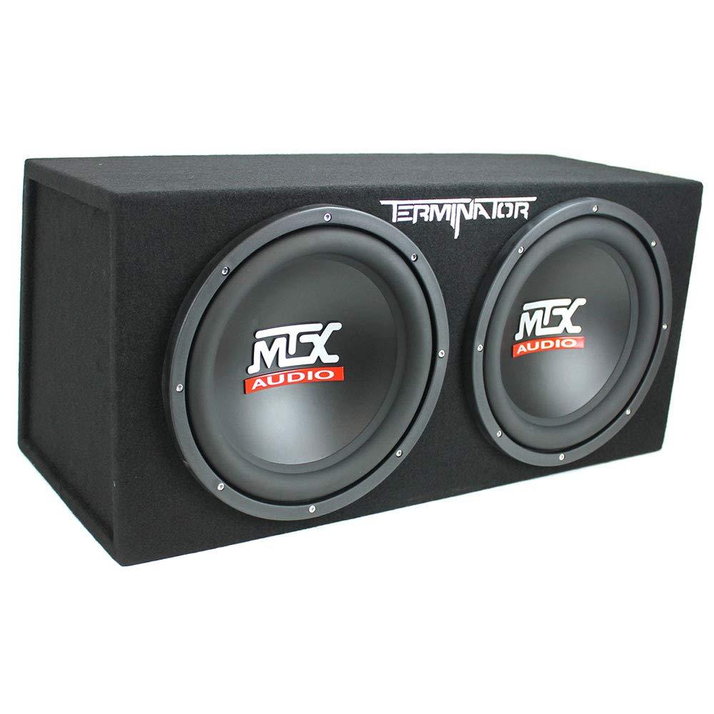 MTX TNE212D 12 1200W Dual Loaded Car Subwoofers Planet 1500W Amp Box Kit