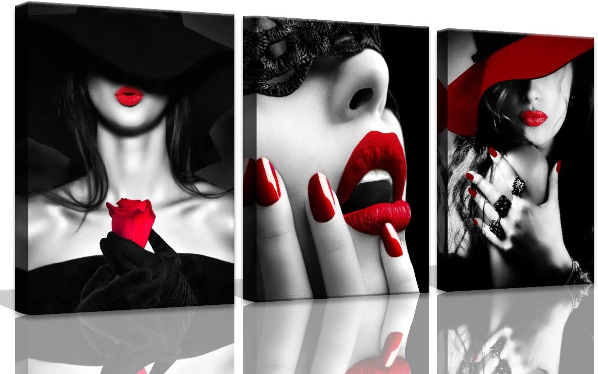 Bedroom Decor for Women Red Lips Black and White Bathroom decor wall art Red Rose Fashion Room Decor Office Modern Art Wall Decor 3 Pieces Canvas Wall Art for Kitchen Home Decorations 12x16inch