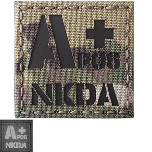 Multicam Infrared IR APOS NKDA A+ Blood Type 2x2 Tactical Morale Hook&Loop Patch