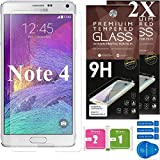 Samsung Galaxy Note 4 Screen Protectors [Set of 2] – Ballistic Tempered Glass – Maximum Impact Protection - 99.9% Crystal Clear HD Glass - No Bubbles – Cell Phone DIY® Premium Protector Kit