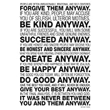 Mother Teresa Anyway Quote Poster Collections Poster Print, 13x19