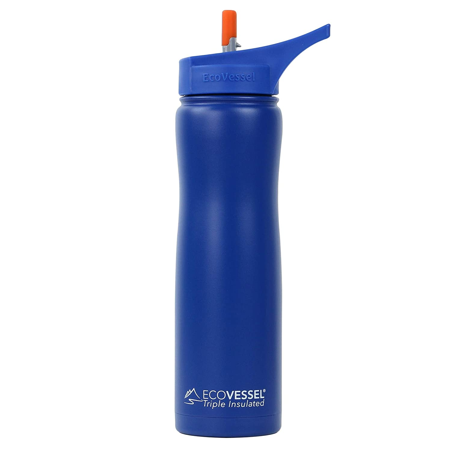 24 Ounces EcoVessel Summit TriMax Triple Insulated Stainless Steel Water Bottle with Flip Straw