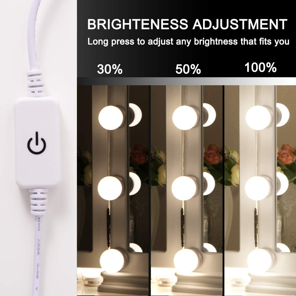 Chende Hollywood Style LED Vanity Mirror Lights Kit with Dimmable Light Bulbs, Lighting Fixture Strip for Makeup Vanity Table Set in Dressing Room (Mirror Not Include) by Chende (Image #3)
