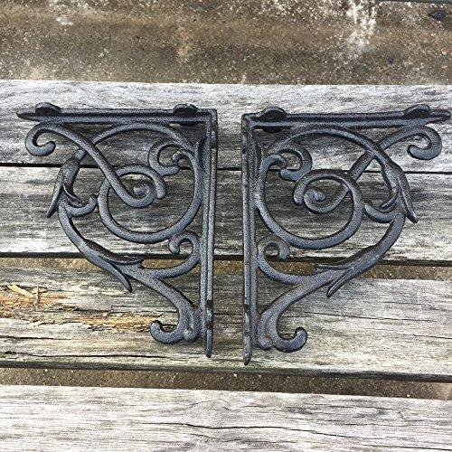 KCHEX 2PCS Antique Style Cast Iron Brackets Garden Braces Rustic Shelf Bracket Black