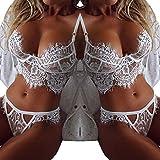 (US) WYTong Sexy Lingerie Set, Women Babydoll Lace Floral Bra + G-String Nightwear Sleepwear (White, Asian:L)