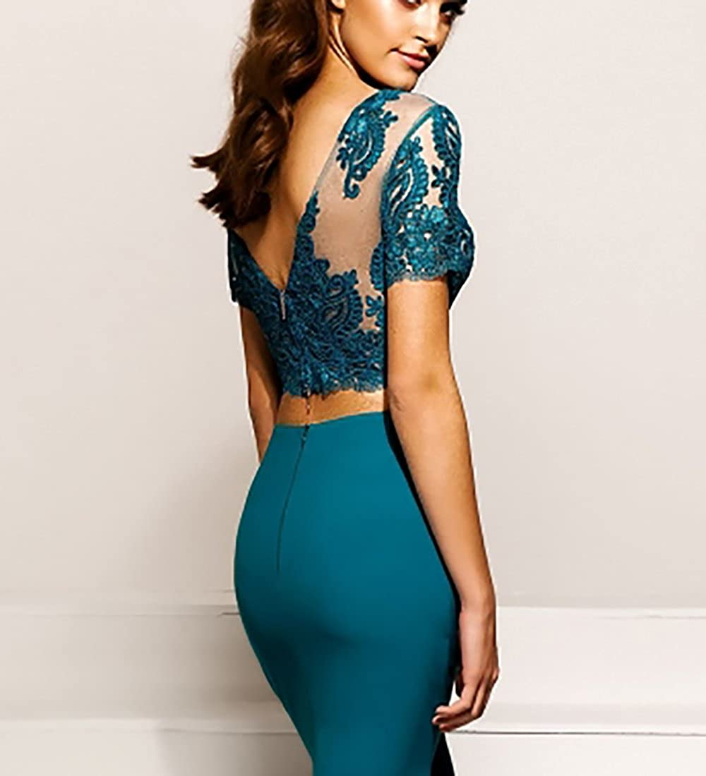 2018 Two Piece Prom Dresses Mermaid Applique Elegant Party Gown Sweep Train PM546