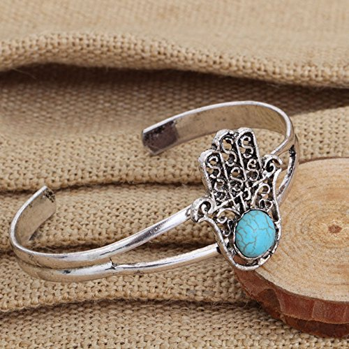 WLLAY Retro Open Cuff Bangles Charm Turquoise Fatima Hamsa Hand Bracelets Bangles Fashion Wristband Jewelry