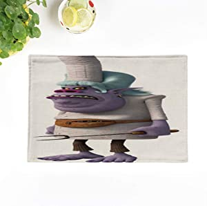 Topyee Set of 8 Placemats Colorful DreamWorks Trolls Chef Tote Bergens Movie Kids Children 18x12.5 Inch Parties Decor Non-Slip Washable Place Mats for Kitchen Dinner Table Mats