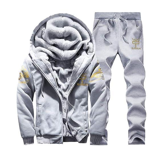 779b4ffc8378c BaZhaHei Survêtement Homme Hiver Chaud Sweatshirt à Capuche Jogging Veste  épais Pantalon de Sport Ensembles