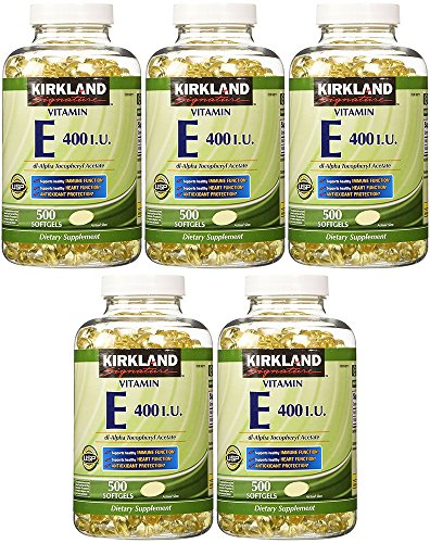 Kirkland Signature Vitamin E 400 I.U., 500 Softgels (5 Pack) by Kirkland Signature