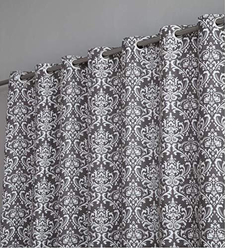 HLC.ME Damask Print 100% Full Blackout Curtains for Living Room, Bedroom, Nursery | Extra-Wide, Room Darkening Decorative Grommet Privacy Panels for Patio Sliding Glass Door - (100