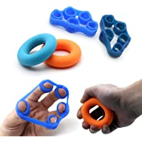 Gonce 2pcs Hand Grip Strengthener and 2pcs Finger Stretcher - Strength Trainer for Forearm Exercise, Guitar Finger Strengtheners and Rock Climbing