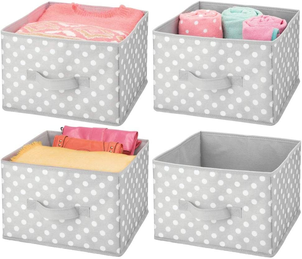 mDesign Soft Fabric Closet Storage Organizer Holder Box Bin - Attached Handle, Open Top, for Child/Kids Bedroom, Nursery, Toy Room - Fun Polka Dot Print - Medium, 4 Pack - Gray/White Dots