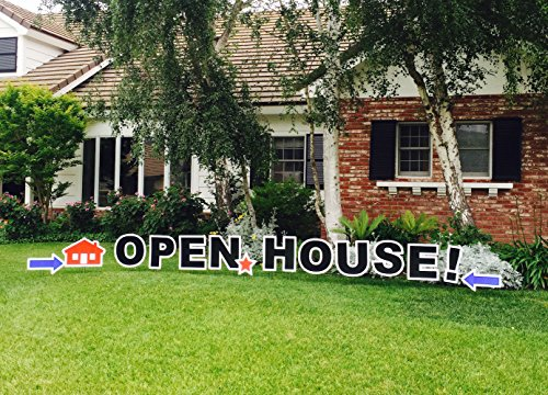 Open House! Outdoor Announcement Decoration Card, Yard Sign Comes 22 Inches with Stakes