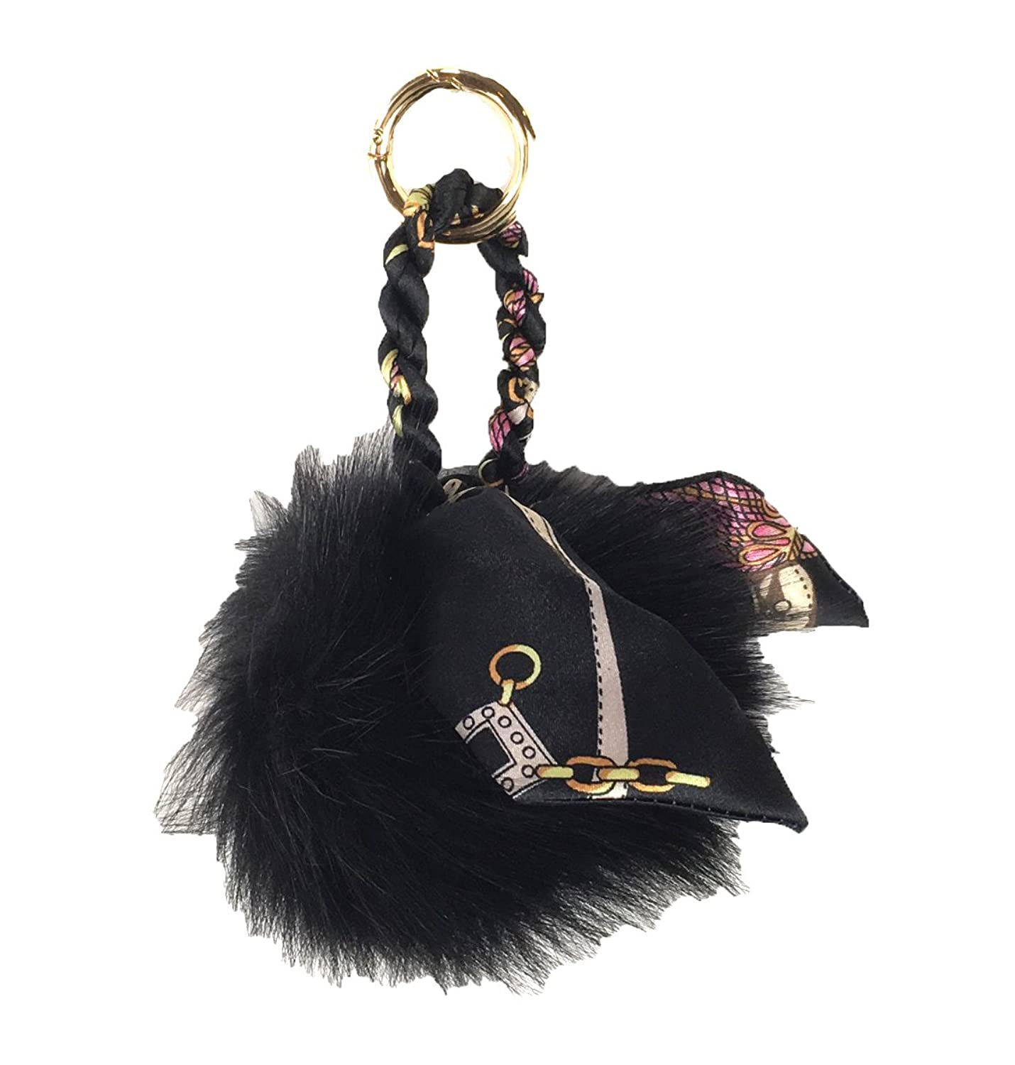 Fashion Culture Oversized Fur Scarf Pom Pom Purse Charm / FOB, Black
