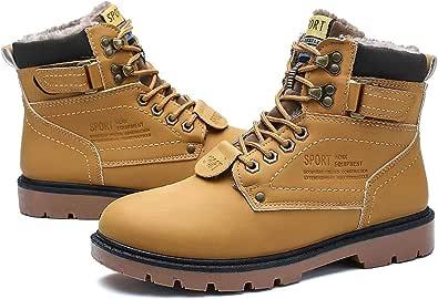 gracosy Vrist boots för män vinter snö varma stövlar pälsfodrade spetsar bekväma ankel vardagliga stövlar mode män platta Martin-stövlar utomhus halkfri hög topp arbetsstövel fuskpäls sneakers skor