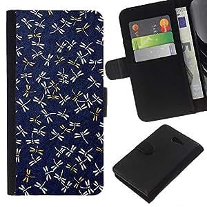 For Sony Xperia M2 Case , Navy Blue Pattern Gold Spring - la tarjeta de Crédito Slots PU Funda de cuero Monedero caso cubierta de piel
