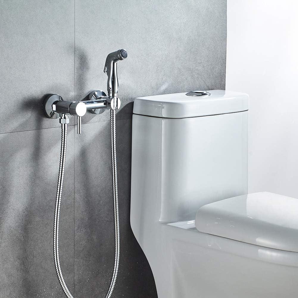 Douchette WC Set Mural avec Flexible Douchette Support Ibergrif M22013 Chrom/é