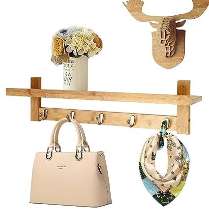 Amazon.com: Genenic Coat Hooks Shelf with 5 Chrome Hooks Wall ...