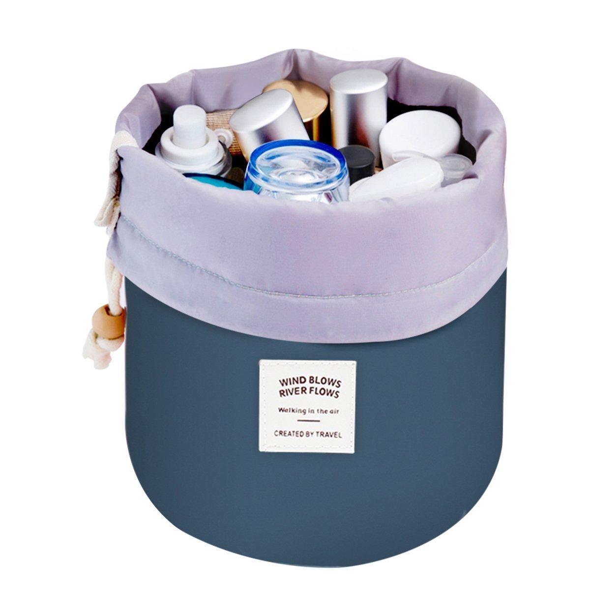 Doshop Toiletry Bag Travel Makeup Bag Men Women Hanging Wash Bags Large Capacity Drawstring Cosmetic Make up Bag Blue + Mini Pouch + Clear PVC Brush Bag (Rose