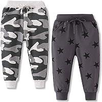 Little Boys Jogger Pants Toddler Boys' Drawstring Elastic Waist Cotton Casual Sweatpants 2 PCS Set