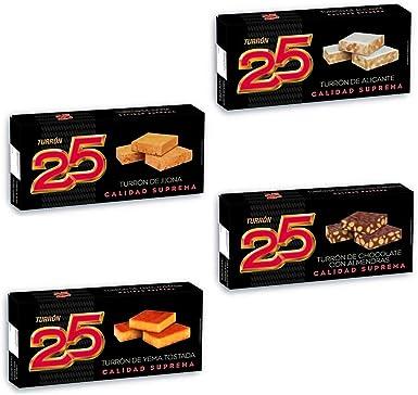 TURRON 25 Pack Tradicional 4 Uds: Turrón Alicante 250Gr, Turrón Jijona 250Gr, Turrón Yema Tostada 200Gr, Turrón Chocolate Almendras 200Gr. Turrón blando,turrón duro. Almendra calidad suprema.: Amazon.es: Alimentación y bebidas