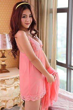 WEI WANG Ropa interior de mujer con cuello en V de encaje transparente Sling pijama camison