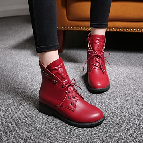 Elegant high shoes Women's Shoes Flat Heel Round Toe Boots Casual Black/Brown/Red Red pBFdnJLw
