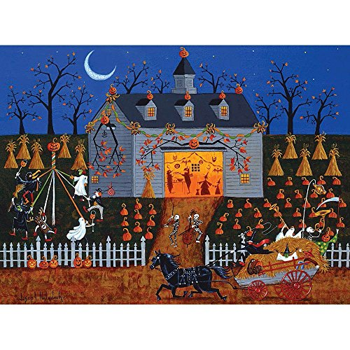Bits and Pieces - 300 Large Piece Jigsaw Puzzle for Adults - All Hallows Barn Dance, Halloween - by Artist Joseph Holodook