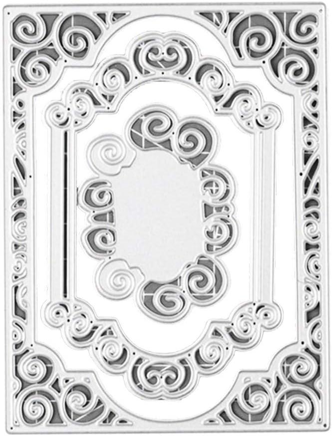 Cutting Dies Cut Silver 2Pcs Background Frame Cutting Die DIY Scrapbook Paper Cards Making Stencil Mold