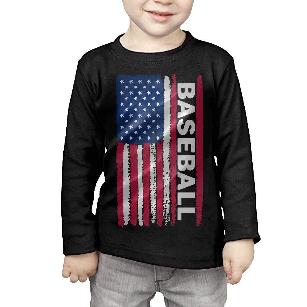 CERTONGCXTS Childrens USA Flag Baseball ComfortSoft Long Sleeve Tee