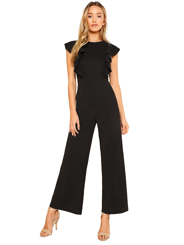 d1b56a43479c Amazon.com  Romwe Women s Sexy Casual Sleeveless Ruffle Trim Wide Leg High  Waist Long Jumpsuit  Clothing
