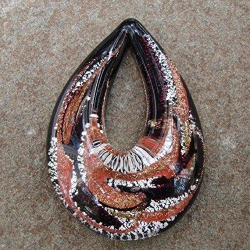 (BeadsTreasure Drop Lampwork Blown Glass Murano Pendant.)