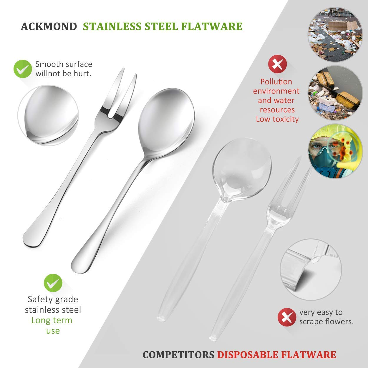 Stainless Steel Metal Serving Utensils - Set of 9-10'' Spoons, 10'' Forks, and 7'' Tongs by Teivio by Teivio (Image #3)
