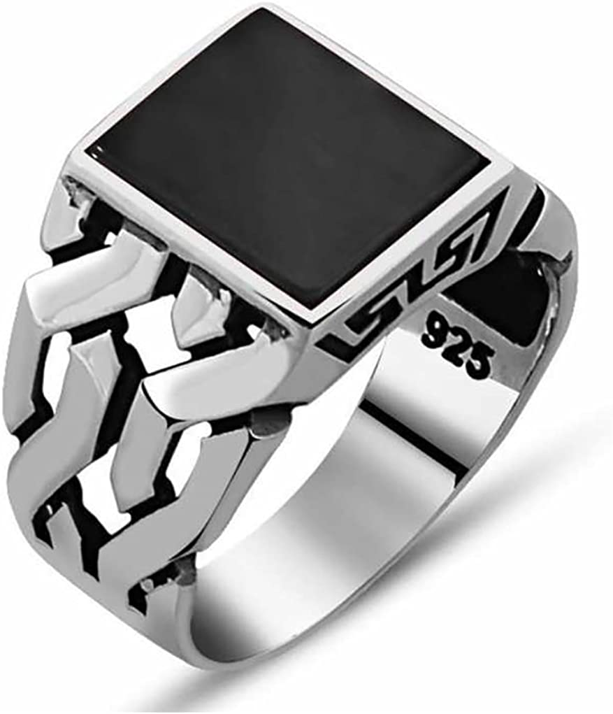 Men/'s Sterling Silver 925 Black Onyx Triple Channel Set Round CZ Band Ring 10.5