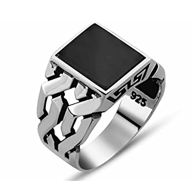 3106e1290faec Chimoda Mens Silver Ring with Black Onyx Stone in 925 Sterling ...