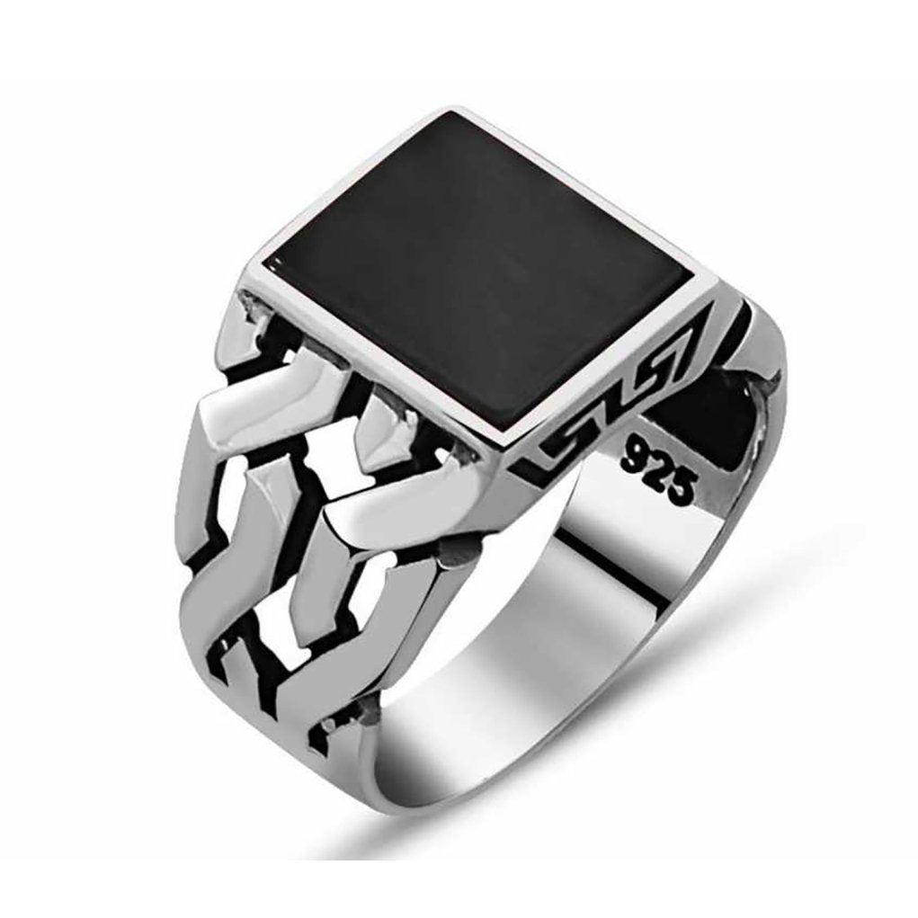 Chimoda Turkish Handmade Jewelry Black Onyx Stone 925 Sterling Silver Men's Ring (9) by Chimoda (Image #1)