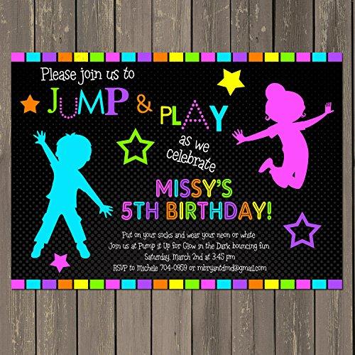 Jump Birthday Invitation, Bounce House Neon Glow in the Dark Themed Birthday Party Invitation - Gender Neutral, Custom Photo -