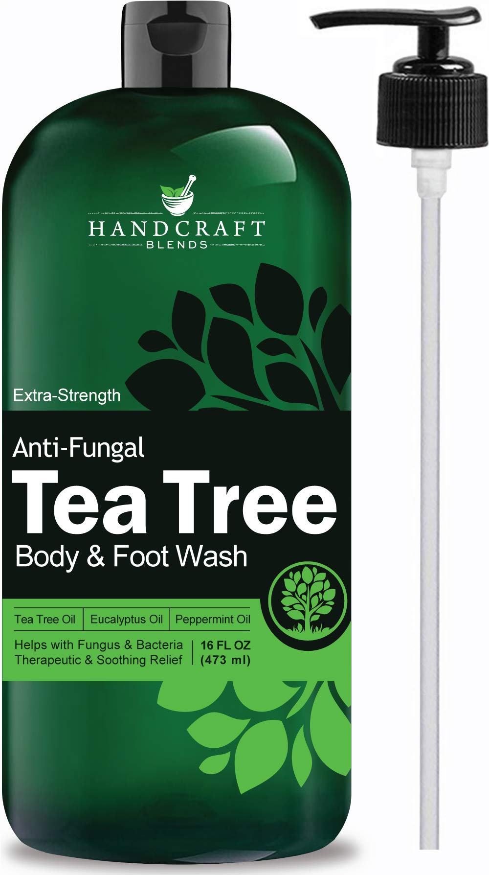 Handcraft Antifungal Tea Tree Oil Body Wash and Foot Wash - Huge 16 OZ - All Natural - Extra Strength Professional Grade - Helps Soothe Athlete Foot, Body Itch, Jock Itch and Eczema by Handcraft Blends