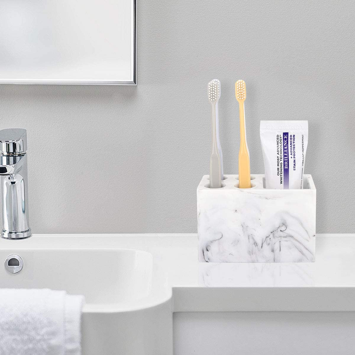 Dark Green Toothpaste Razor Luxspire Resin Toothbrush Holder 3 Slots Hygienic Handmade Toothbrush Storage Stand Dispenser Bathroom Organizer Set for Electric Toothbrush