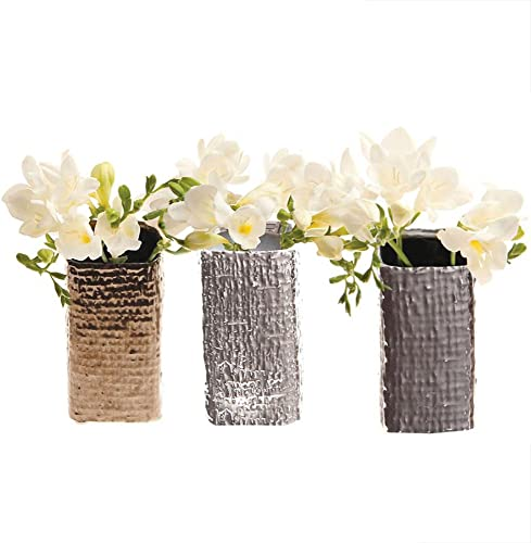 Chive – Set of 6, 2 Inch Wide 4.25 Inch Tall, Small Square Ceramic Bud Flower Vase