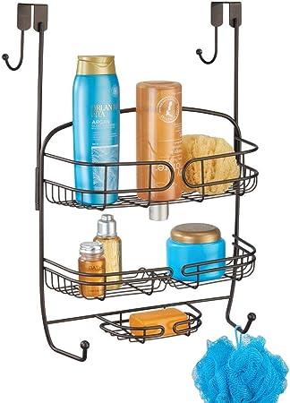 mDesign Colgador para ducha – Práctica estantería de ducha para colgar en la mampara – Organizador de baño de metal – color bronce: Amazon.es: Hogar